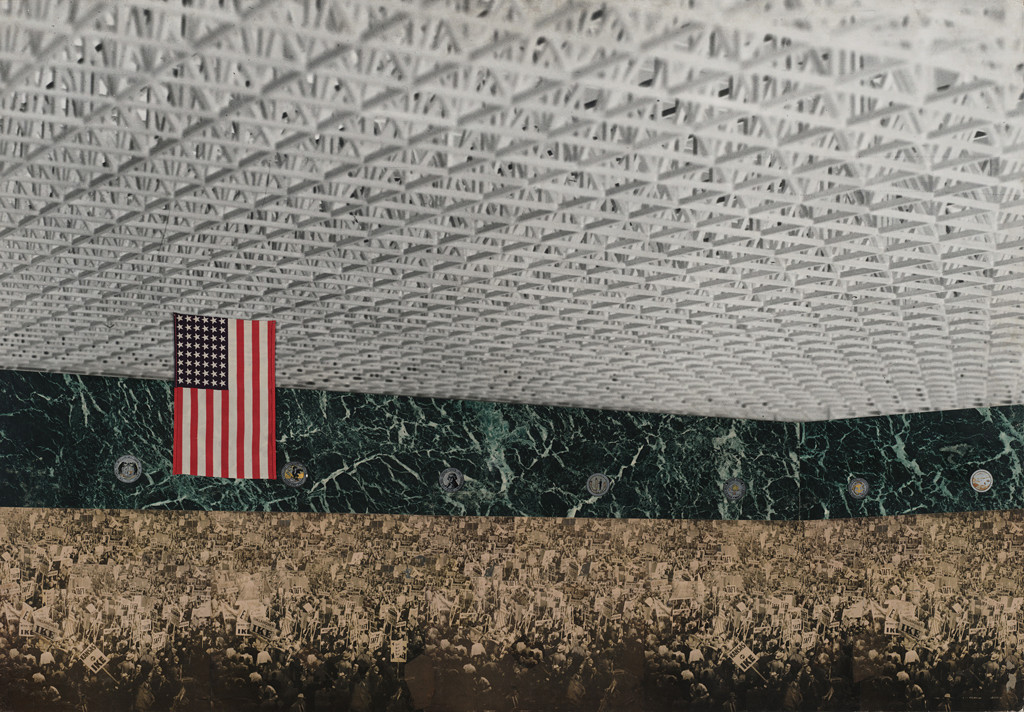 A collage shows a crowd gathered beneath a flag of the United States of America hung from a what looks to be a steel-trussed roof