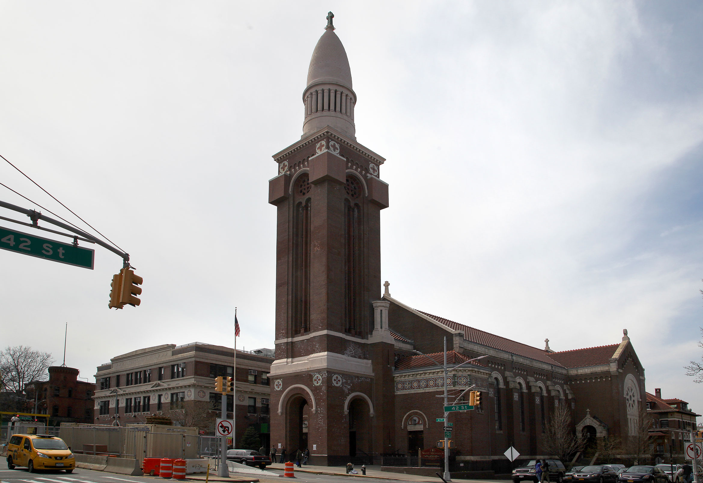 St. Michael's Church, on Fourth Avenue in the heart of Sunset Park. The community solar project could expand to rooftops across the neighborhood. Photo by Amy Howden-Chapman