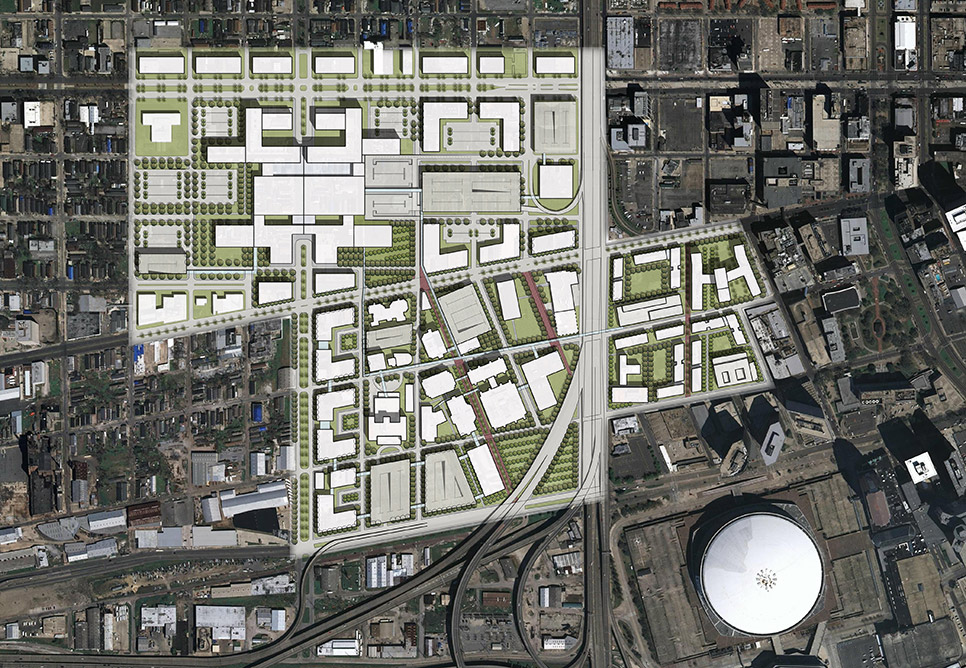 A site plan shows a large amount of building footprints situated in an otherwise dense and built-up urban area
