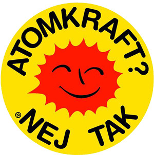 "A famous anti-nuclear movement symbol reinterpreted for the Berliner Wassertisch symbol. Symbol consists of a yellow circle with a red sun adorned with a smiley face. Text is wrapped around the sun and reads: ""Atomkraft? Nej tak"""