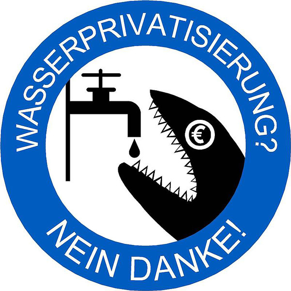 "Berliner Wassertisch symbol, a protest image showing a tap, a drop of water, and a vociferous shark with a Euro-sign gracing its eye. A fairly thick blue outline surrounds this image with white text that reads: ""Wasserprivatisierung? Mein danke!"""