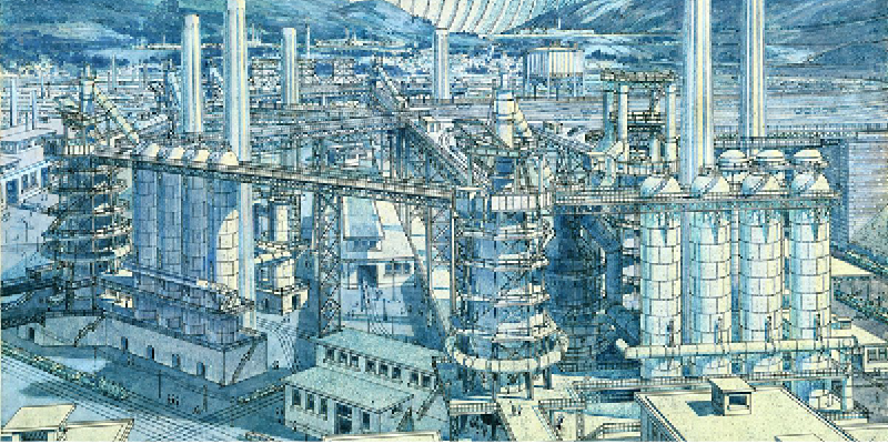 Drawing of steelworks from Tony Garnie
