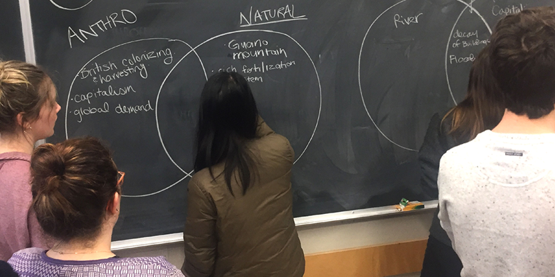 "A student writing on a blackboard that has a ven diagram with the categories ""Anthro"" and ""Nature."" Students brainstorm behind her."