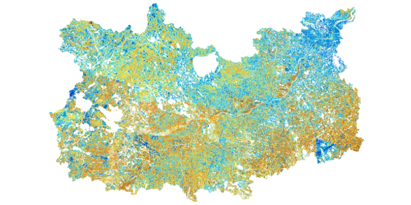 Normalized Difference Moisture Index for the Mississippi Headwaters watershed area calculated from multi-spectral remote sensing data. Wetlands and moist areas are shown in blue and dry areas appear brown and yellow.