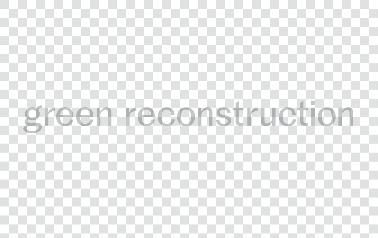 green reconstruction in grey text over a grey and white gridded background
