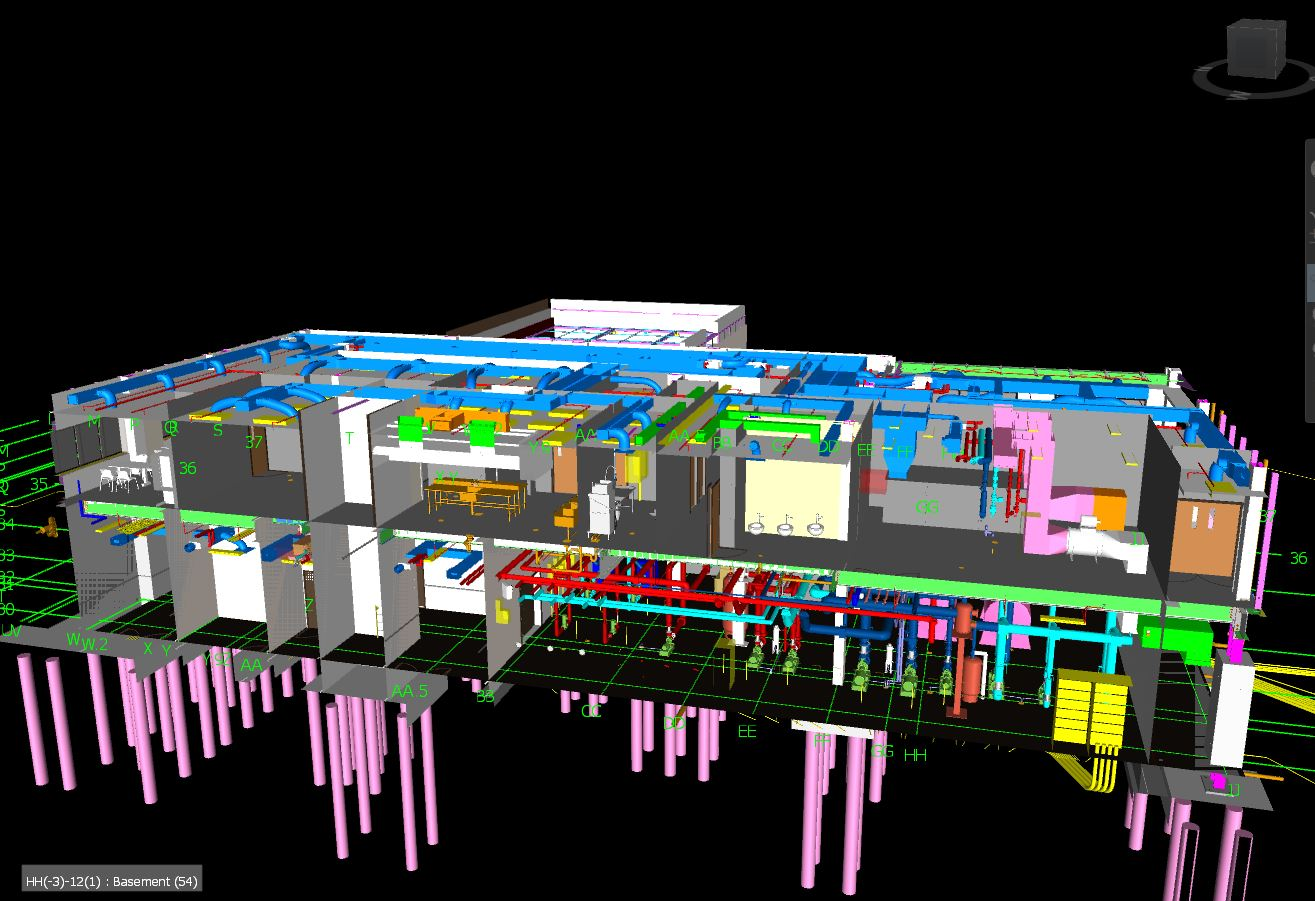 Partial BIM model of the USACE's Engineer Research and Development Center (ERDC) headquarters, designed by USACE and built by Yates Construction, 2017.