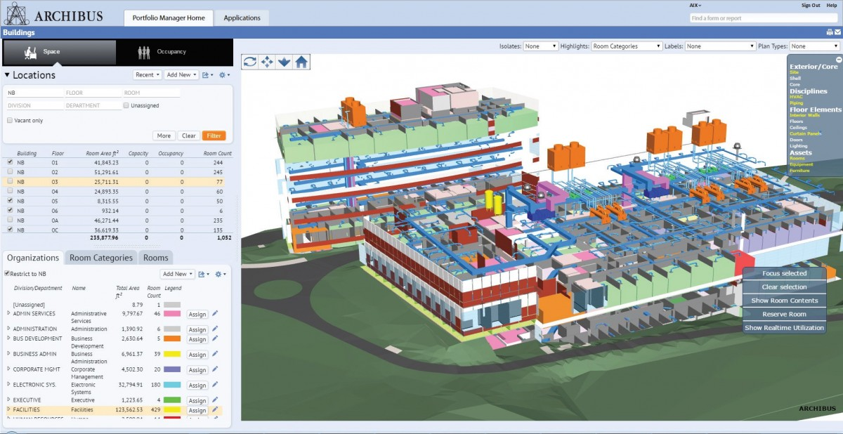 ARCHIBUS facility management software uses a 3D BIM model to manage real-time room assignments, building analytics, and capital asset management.
