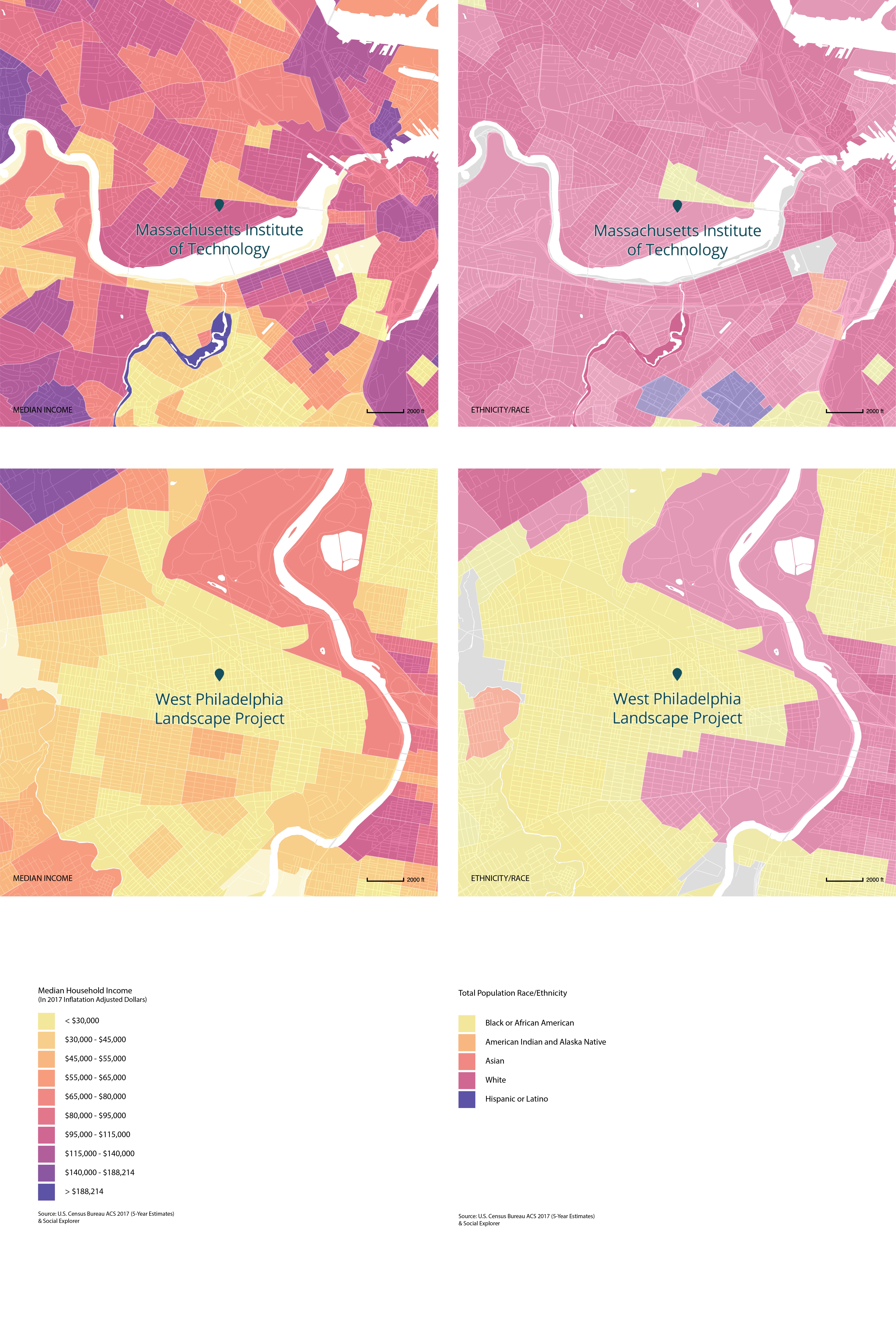 Income and Racial Demographics of Areas Surrounding MIT and the West Philadelphia Landscape Project