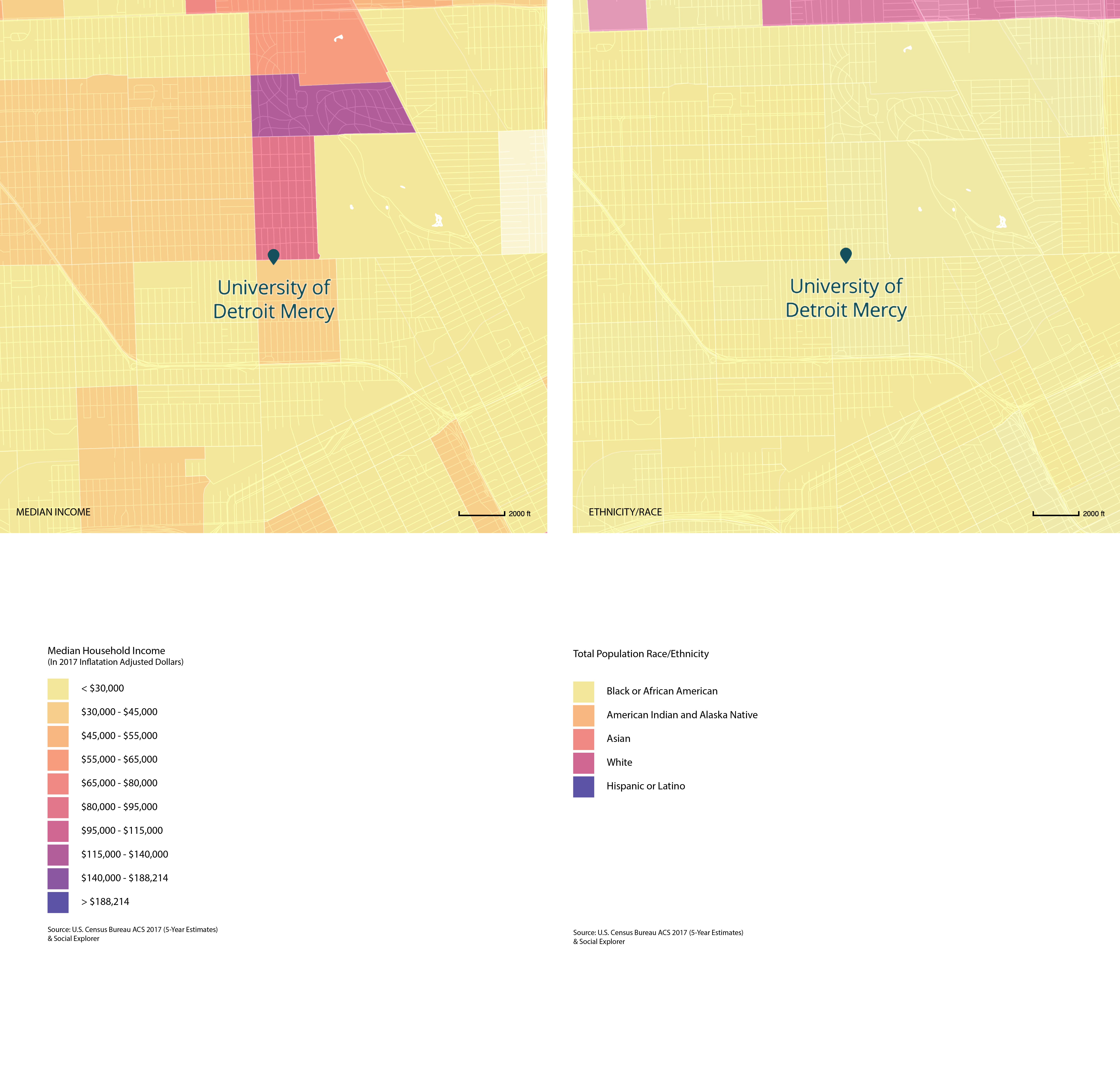 Income and Racial Demographics of Areas Surrounding the Detroit Collaborative Design Center