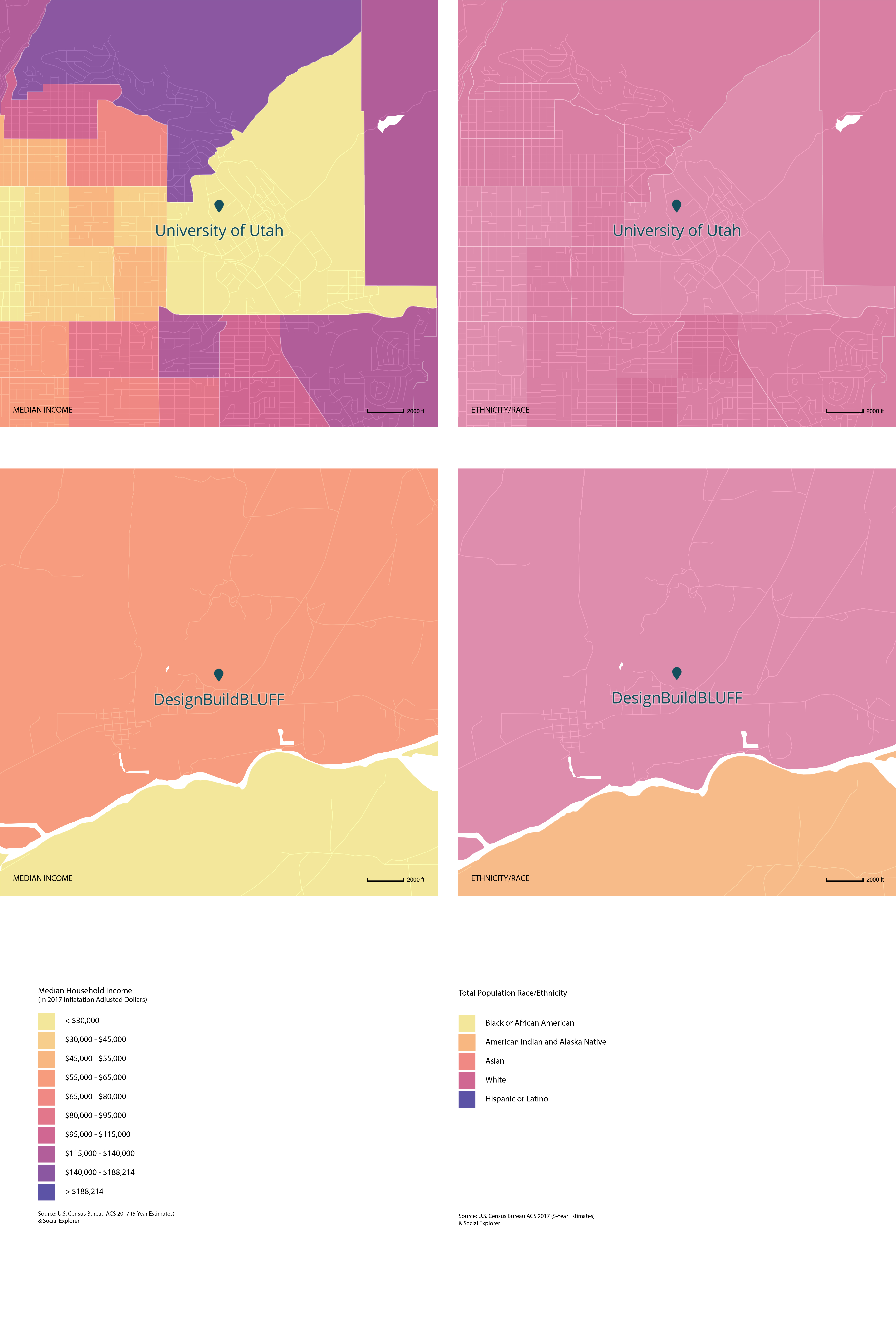 Income and Racial Demographics of Areas Surrounding the University of Utah and DesignBuildBLUFF