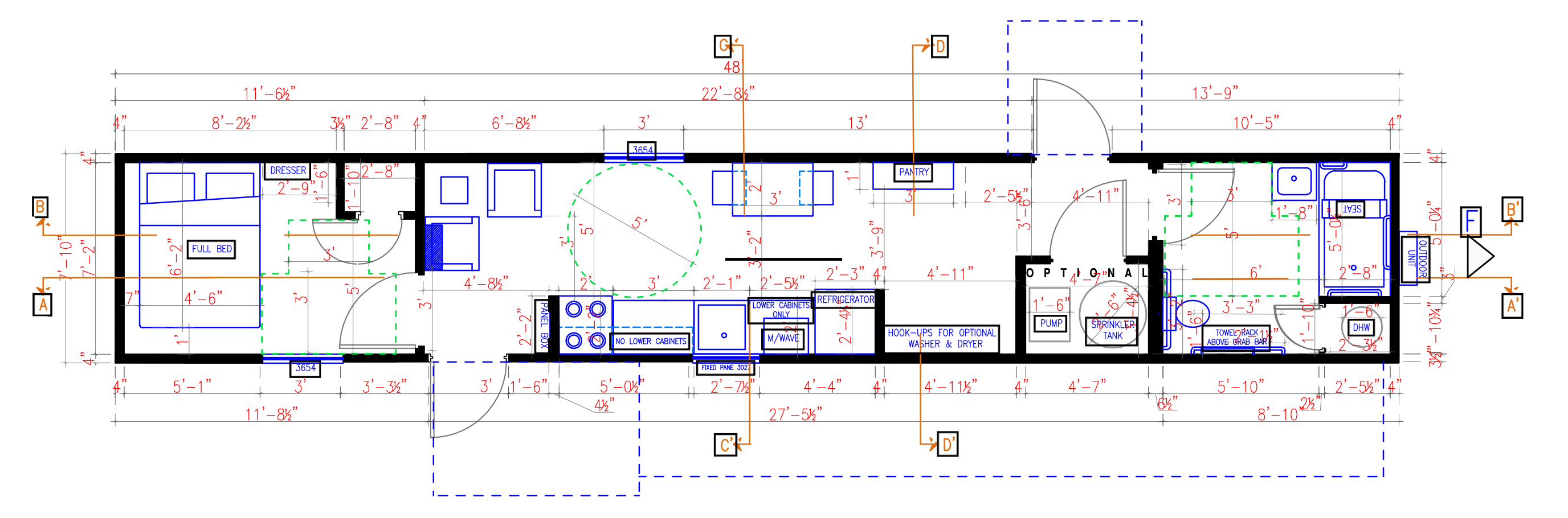 A plan of a typical mobile home unit showing measurements, room designations, and appliances