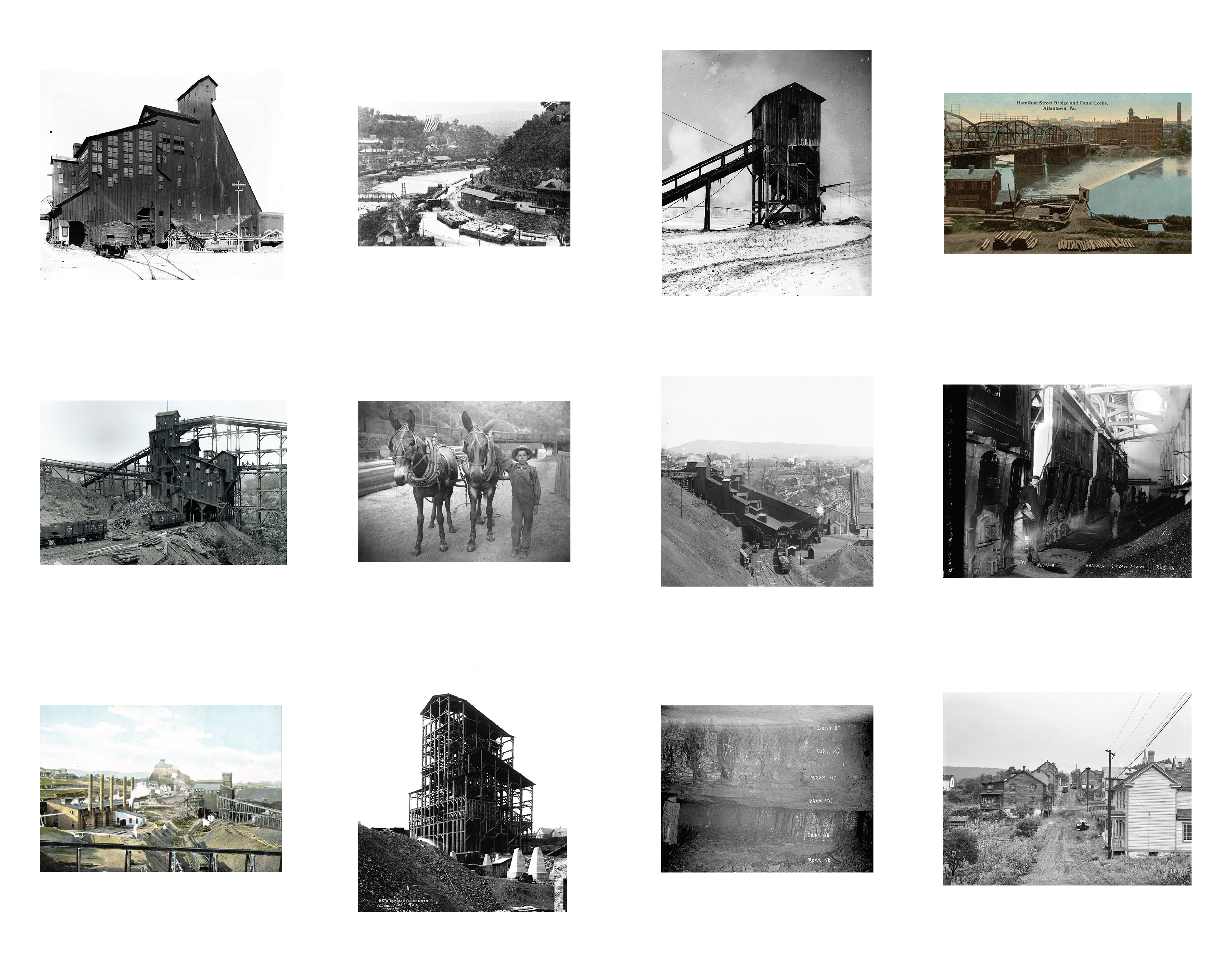 A grid of twelve photographs, mostly black and white, showing scenes related to 19th century coal production