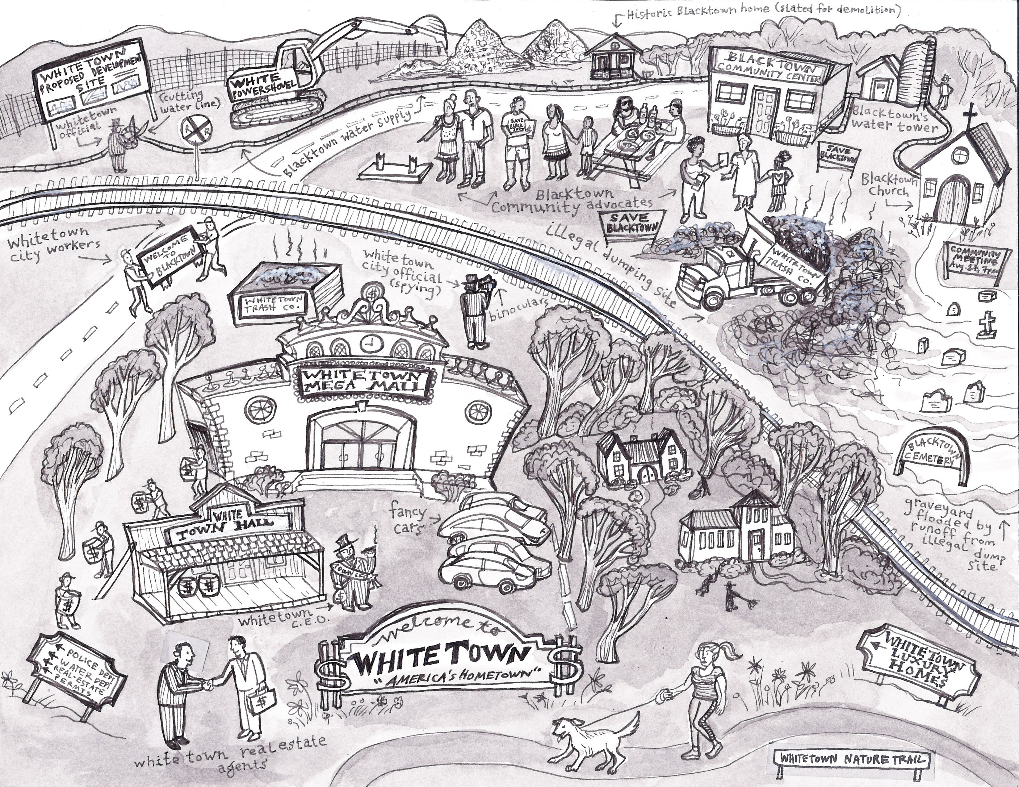 "A black and white illustration shows various components of ""Blacktown"" and ""Whitetown."""