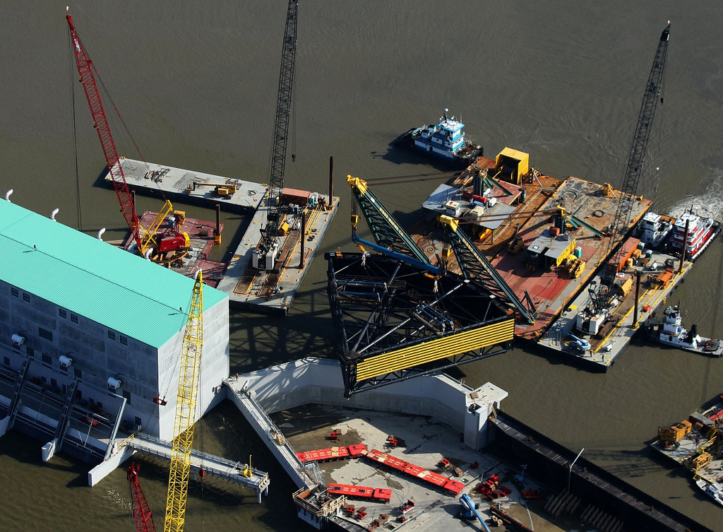 Work underway in 2011 at the Gulf Intracoastal Waterway West Closure Complex in New Orleans