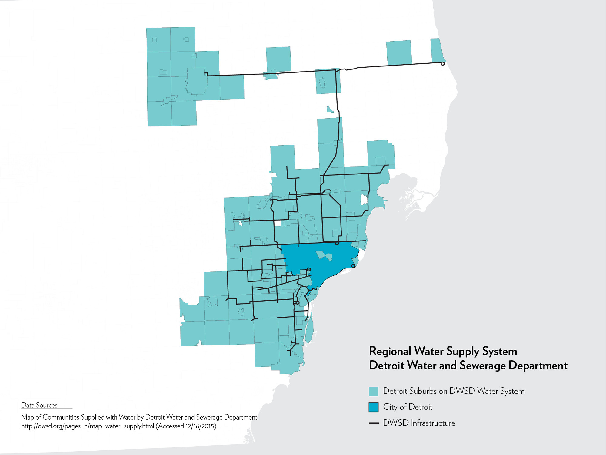 We the People of Detroit Community Research Collective, Detroit Water and Sewerage Department's Regional Water System, 2016. Source: Mapping the Water Crisis.