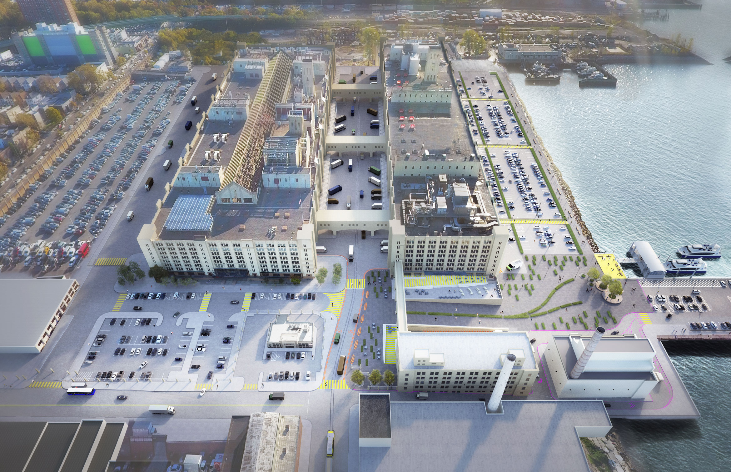 A rendering of the Brooklyn Army Terminal with an existing 8,400-square-foot array (used to power the terminal building itself) depicted on the roof, lower left. At 70,000 square feet, the Sunset Park Solar array will cover a majority of the remaining roof space. Image courtesy of New York City Economic Development Corporation
