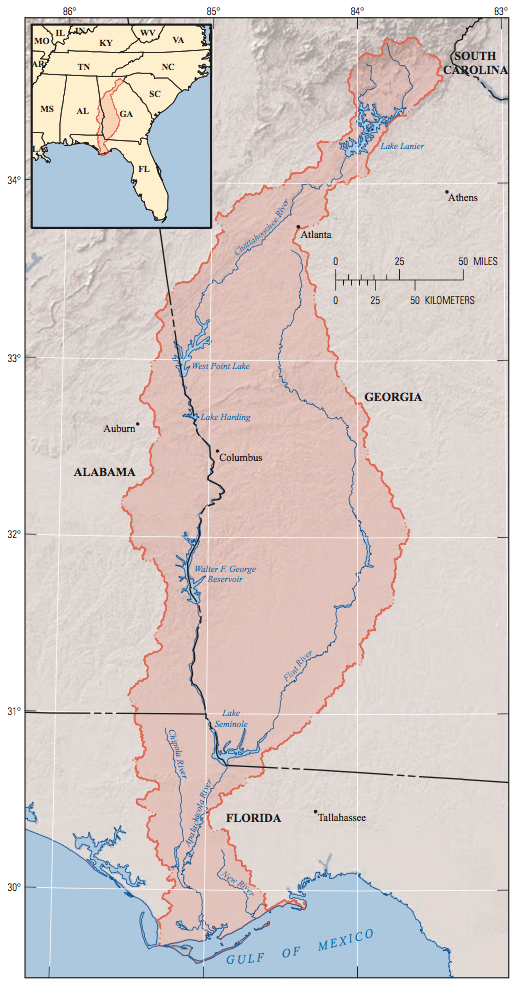 Map showing the Apalachicola Chattahoochee Flint river basin, which is highlighted and outlined in red.