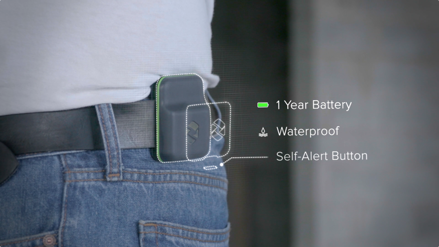 "Spot-r by Triax Technologies seen on a belt as a wearable device for construction sites. It allows owners and managers to ""Gain critical visibility into site safety, security and risk"" by tracking ""Real-time worker and equipment location, utilization and safety data"". From Triax Technologies Inc., https://www.triaxtec.com/."
