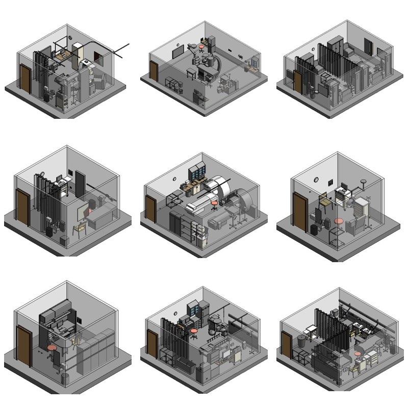 Standardized yet variable space plans from 3D BIM room templates generated for the Department of Veteran Affairs.